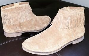 LUCKY BRAND GALLEY FRINGE SUEDE ZIP ANKLE BOOTS
